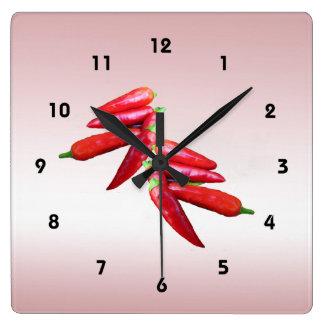 熱いチリペッパー スクエア壁時計