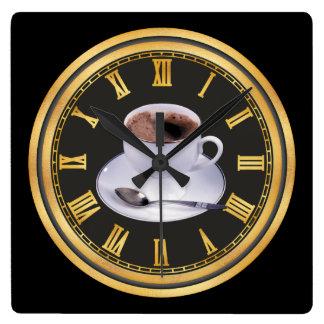 熱いブラックコーヒーの店の総本店の装飾 スクエア壁時計