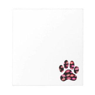 熱い唇パターンが付いている犬の足のプリント ノートパッド