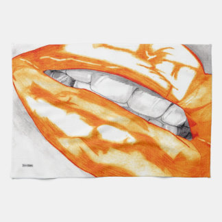 熱い唇(オレンジ) キッチンタオル