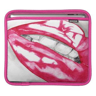 熱い唇(暗い赤紫色) iPadスリーブ