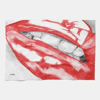 熱い唇(深紅) キッチンタオル