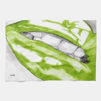 熱い唇(緑) キッチンタオル