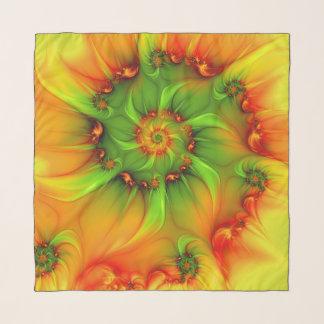 熱い夏の緑のオレンジの抽象芸術のカラフルのフラクタル スカーフ