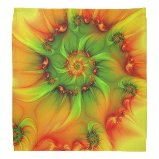 熱い夏の緑のオレンジの抽象芸術のカラフルのフラクタル バンダナ