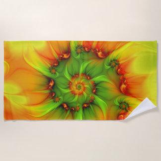 熱い夏の緑のオレンジの抽象芸術のカラフルのフラクタル ビーチタオル