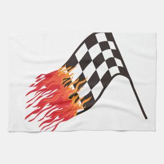 熱い競争の旗 キッチンタオル
