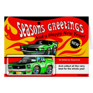 熱い筋肉車のおもちゃの季節のごあいさつの幸せで新しい賛成 グリーティングカード