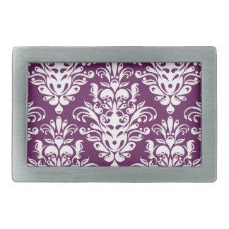 熱い紫色および白くエレガントなダマスク織パターン 長方形ベルトバックル