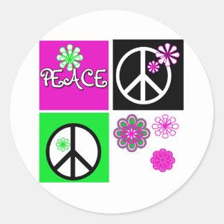熱い色の平和 ラウンドシール