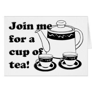 熱い茶-茶ポットおよびティーカップ カード