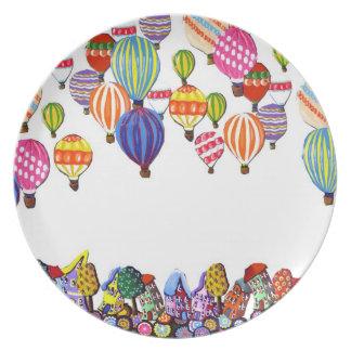熱い|空気|気球|家|風変わり|フォーク|芸術|版 皿