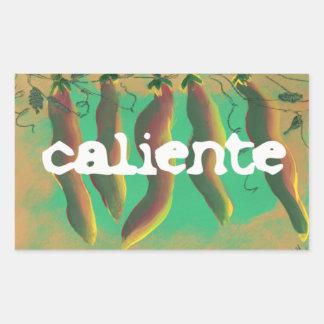 熱いCalienteのハラペーニョのコショウ 長方形シール