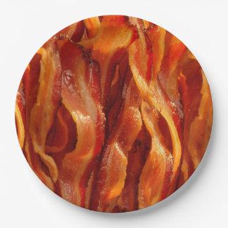 熱く焼けるように暑くおいしく塩辛いベーコンの質 ペーパープレート