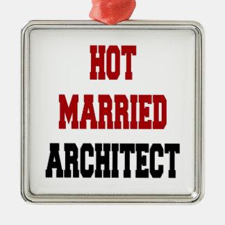 熱く結婚したな建築家 シルバーカラー正方形オーナメント