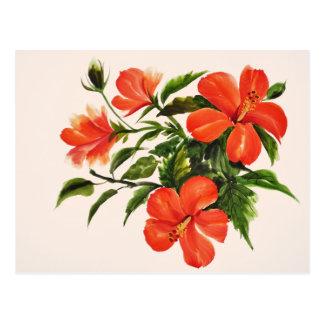 熱く赤いハイビスカス ポストカード