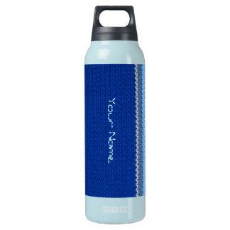 熱のボトル-かぎ針編みパターン-青い縞 断熱ウォーターボトル