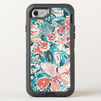 熱帯こんにちはのハイビスカスの水彩画の花柄パターン オッターボックスディフェンダーiPhone 7 ケース