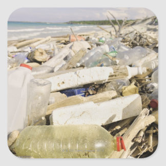 熱帯で投げ出すプラスチックボトルおよび海 スクエアシール