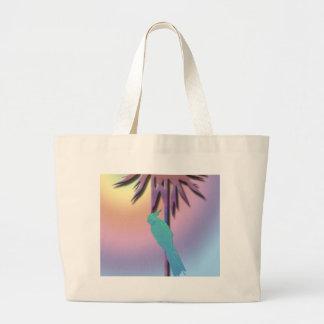 熱帯やしのCockatielのデジタル芸術のデザイン ラージトートバッグ