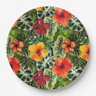 熱帯アロハエキゾチックなジャングルの花 ペーパープレート