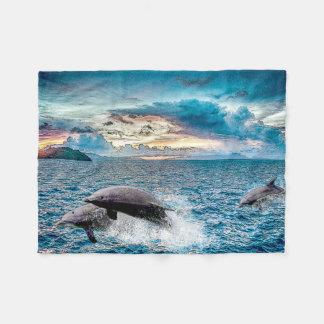 熱帯イルカのフリースブランケット フリースブランケット
