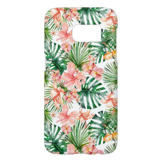 熱帯エキゾチックなジャングルのハイビスカスの花 SAMSUNG GALAXY S7 ケース