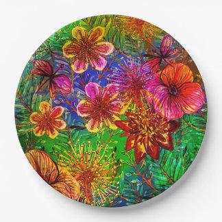熱帯カラフルのアロハエキゾチックなジャングルの花 ペーパープレート
