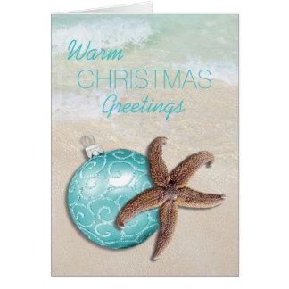 熱帯クリスマスのヒトデのオーナメントのビーチ カード