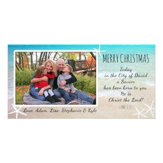 熱帯クリスマスのビーチのキリスト教の写真カード カード