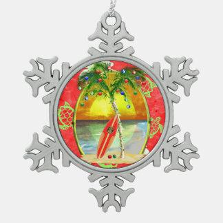 熱帯クリスマスのヤシの木 スノーフレークピューターオーナメント
