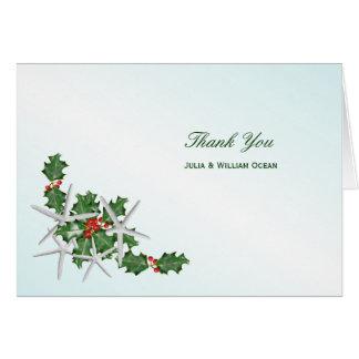 熱帯クリスマスの結婚式のサンキューカード カード