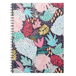 熱帯コラージュのやしパターン螺線形ノート ノートブック