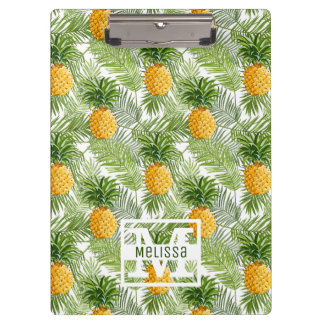 熱帯シュロの葉及びパイナップルは あなたの名前を加えます クリップボード