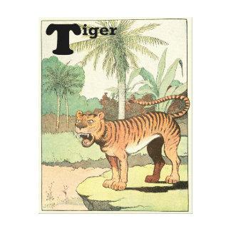 熱帯ジャングルのアルファベットのトラ キャンバスプリント