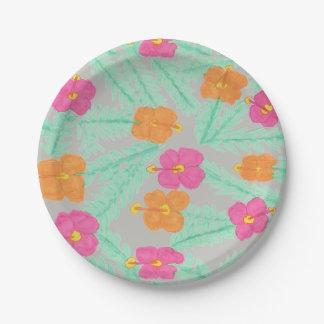 熱帯ジャングルの花の紙皿 ペーパープレート
