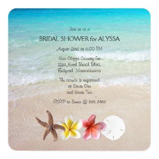 熱帯ターコイズの正方形のウェディングシャワーの招待 カード