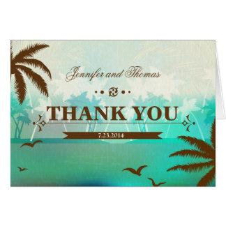 熱帯ティール(緑がかった色)の景色のビーチ結婚式のサンキューカード カード