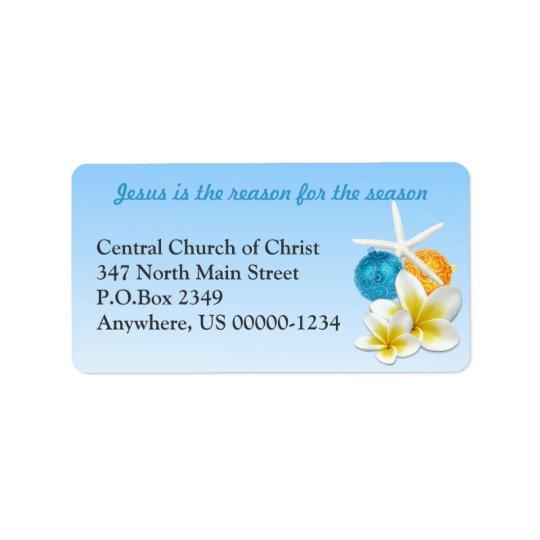 熱帯テーマのキリスト教会の住所シール ラベル