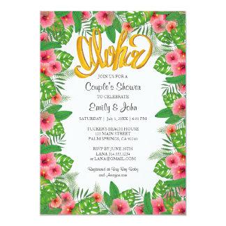 熱帯ハイビスカスのルアウ(ハワイ式宴会)のカップルのシャワーの招待状 12.7 X 17.8 インビテーションカード