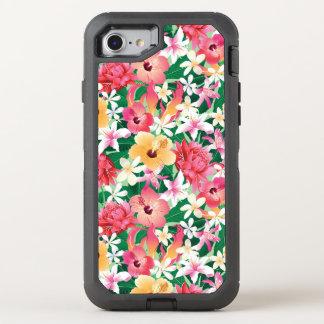熱帯ハイビスカスの花柄パターン オッターボックスディフェンダーiPhone 8/7 ケース