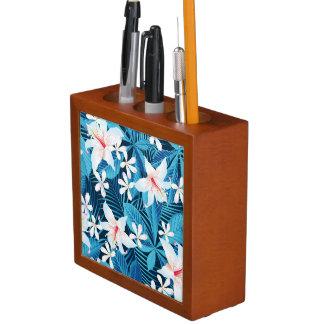 熱帯ハイビスカスの花柄パターン ペンスタンド