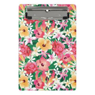熱帯ハイビスカスの花柄パターン ミニクリップボード
