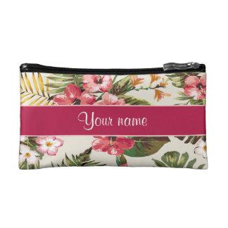 熱帯ハイビスカスの花模様 コスメティックバッグ