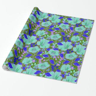 熱帯ハイビスカス及び蝶明るい青緑 ラッピングペーパー