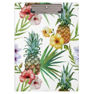熱帯ハワイのテーマの水彩画のパイナップルパターン クリップボード