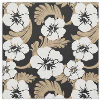 熱帯ハワイのハイビスカスの花のカーキ色の黒 ファブリック