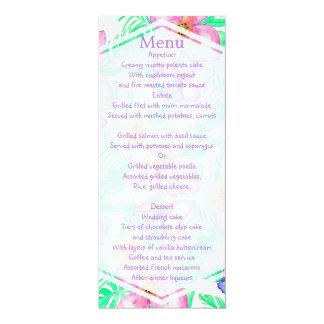 熱帯ハワイの水彩画の花の結婚式メニュー カード