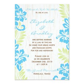 熱帯ハワイの結婚式招待状のターコイズ カード