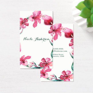 熱帯ハワイの花のエレガントでシックなハイビスカス 名刺